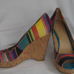 Nine West Cork Wedge Fabric Pumps- Size 9.5